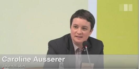 Caroline Ausserer moderiert das Panel zu Menschenhandel in der Heinrich-Böll-Stiftung im März 2014.